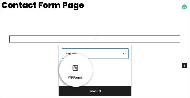 wpforms block in wordpress
