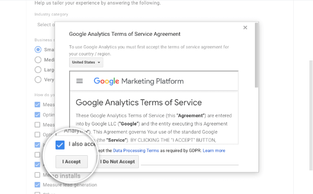 Accept terms in Google Analytics