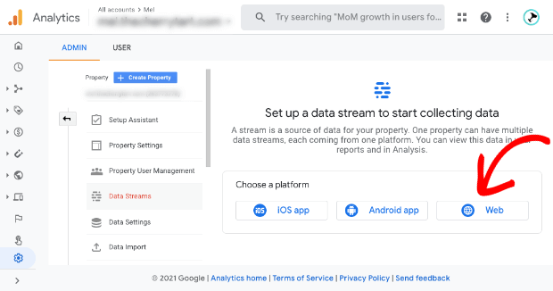 Google Analytics set up stream