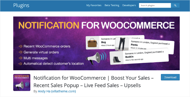 notification for woocommerce
