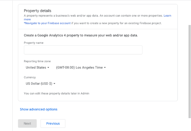 Property set up in Google Analytics