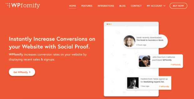 wpfomify homepage