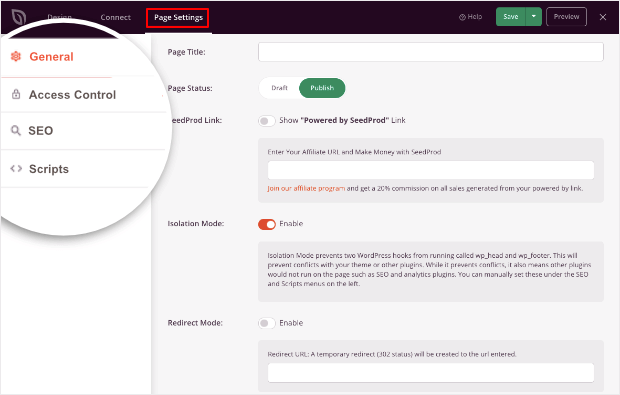 general settings page in seedprod