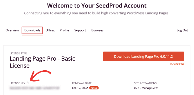 license key in seedprod account