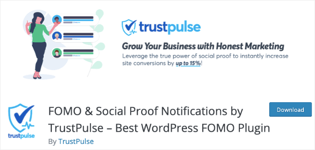 trustpulse wordpress plugin page