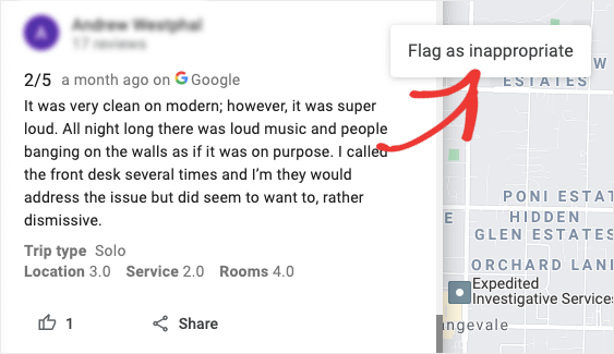 flag a google review as inappropriate