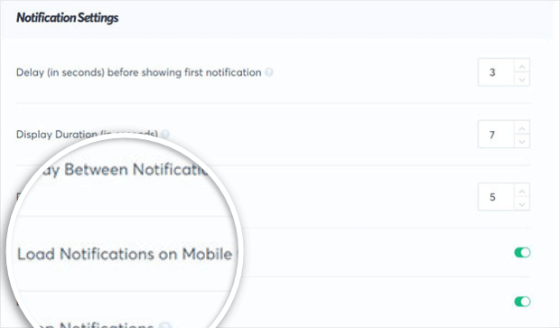 load notifications on mobile