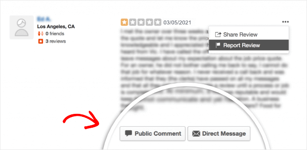 public comment or message on yelp