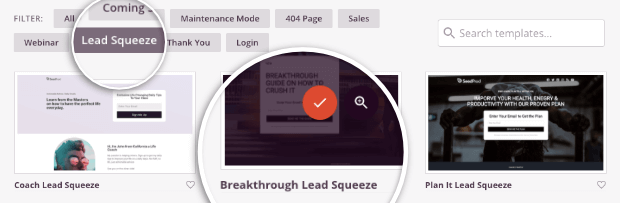 seedprod lead squeeze pages