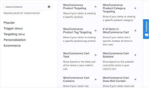 woocommerce targeting rules