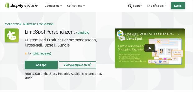 limespot personalizer shopify app