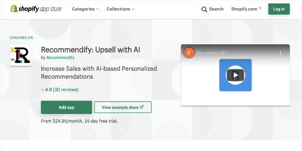 recommendify upsell shopify app with AI