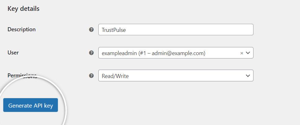Click the Generate API Key button