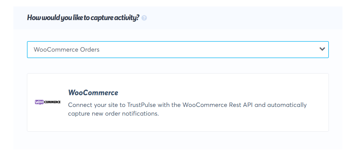 select woocommerce orders option from the dropdown