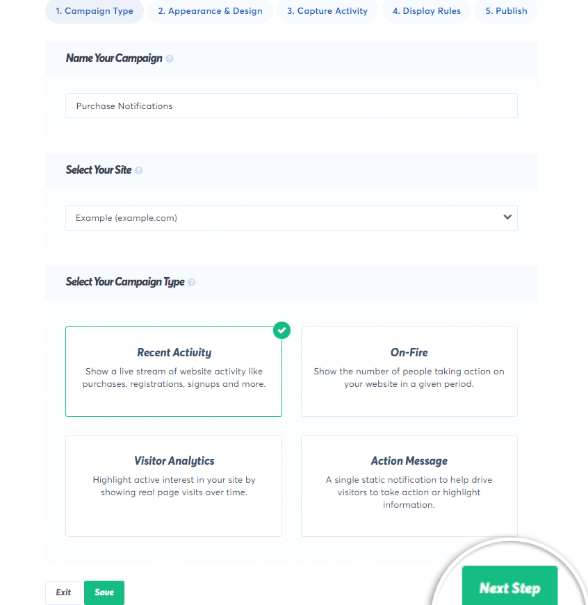 fill the trustpulse capture settings and click next